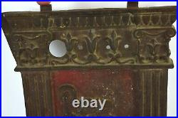 1920s Art Deco Cast Iron Movie Theater Seat End Bas-Relief Musicians