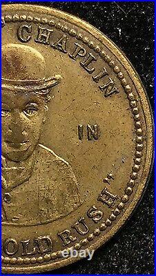 1926 Charlie Chaplin Silent Movie Historic Scarce Token Theater Gold Rush Coin