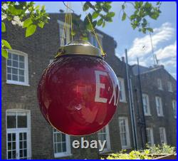 1930's Art Deco Movie Theatre Ruby Red Glass EXIT Ceiling Lamp/Globe from NY USA