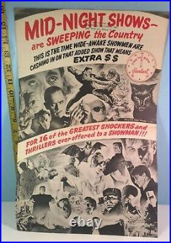 1950's Midnight Monster Movies Theater Show List Fold-Out Poster Very RARE