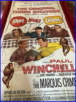1960, Three Stooges, Large 2-Part Movie Theater Poster / Sheet (RARE) Vintage