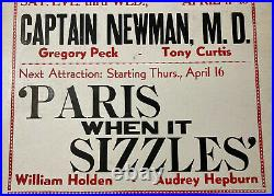 1964 Theater Monticello New York Movie Advertising Poster Sign NY Audrey Hepburn