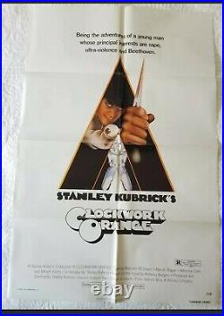 CLOCKWORK ORANGE ORIGANAL MOVIE POSTER FROM THEATER 27×41 USED in theater
