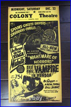 Colony Theater Nightmare of Horrors (USA) 27 x 14 Vintage Theater Poster