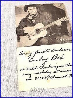 Cowboy Bob Indiana WTTV star from Chuckwagon Theater signed card