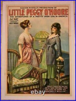 Cut $250! LITTLE PEGGY O'MOORE 1910 LB THEATRE POSTER- IRISH GIRL IN AMERICA