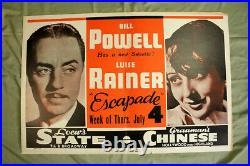 Escapade Powell and Rainer Graumans Theater Premiere (1935) 28 x 42 US