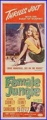 FEMALE JUNGLE 1955 ORIGINAL Theater Insert Poster Jayne Mansfield FILM NOIR