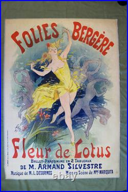 Folies Bergere Art by Cheret (1893) 34.75 x 49 French Theater Advertising