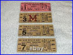 GONE WITH THE WIND 4 VINTAGE 1940 UNUSED FOX THEATER TICKETS Clark Gable ticket