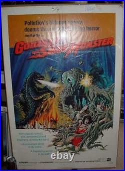 Geniune Original GODZILLA vs SMOG MONSTER MOVIE POSTER 1 SHEET STUDIO STAMP41X27