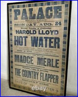 Genuine Harold Lloyd in Hot Water Movie Poster Palace Theatre Braintree c1925