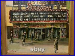 HARRY WALKER 20th c. American Vintage Movie Theater Painting PARADISE THEATER