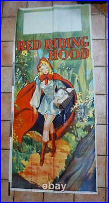 HUGE VINTAGE 1930's SUPER SEXY RED RIDING HOOD PIN UP POSTER MOVIE THEATER ART