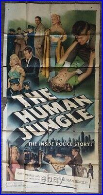 Human Jungle Original Vintage Poster Movie Theater Promo 50s Pin-up 3 Sheet 1954