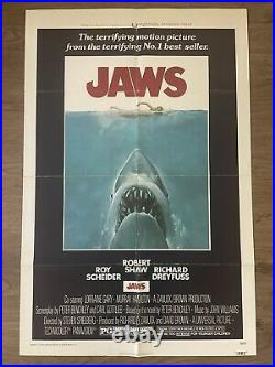 JAWS 1975 ORIGINAL FILM MOVIE POSTER 27x41 VINTAGE STEVEN SPIELBERG THEATER