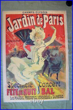 Jardin De Paris Art by Cheret (1890) 34.75 x 49 French Theater Advertisin