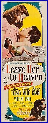 LEAVE HER TO HEAVEN 1945 Original Theater Insert Poster FILM NOIR RARE