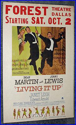 LIVING IT UP original 1954 movie poster DEAN MARTIN/FOREST THEATRE/DALLAS, TX