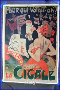 La Cigale Art by Jules Alexandre Grun (c. 1900) 33.25 x 47 Theater Poster LB