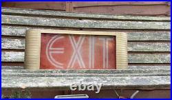 Midcentury Art Deco style US Movie Theatre Metal & Glass EXIT Lightbox Sign