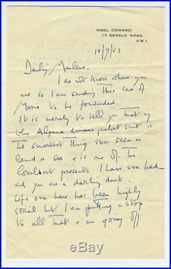 Noel COWARD (Playwright) Autograph Letter to Marlene DIETRICH (Film)