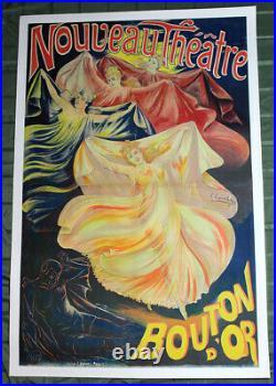 Nouveau Theatre Bouton D'Or (France, 1893) 58.5 x 37.5 Advertising Poster LB