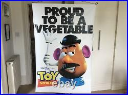 Original Huge Disney Double Sided Toy Story Movie Theatre Cinema Vinyl Poster