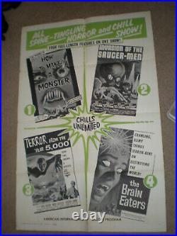 Original Theater Poster AIP HORROR/SCIFI QUADRUPLE BILL 1SHT POSTER SAUCERMEN