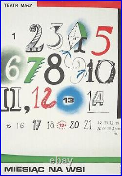 Original Vintage Poster Polish Theatre A Month in the Countryside Calendar