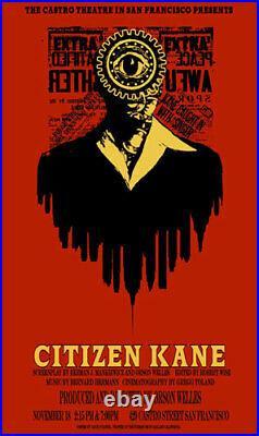 Orson Wells Citizen Kane Castro Theater Silkscreen Movie Poster David O'Daniel