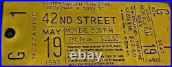 RARE Original 1980 Wintergarden Theatre Broadway MEZZANINE Musical Metal Ticket