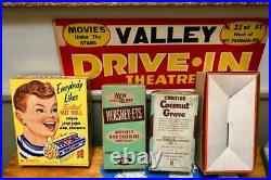 Rare Original 1950's Drive-In Theatre Poster and 4 Concession Stand Candy Boxes