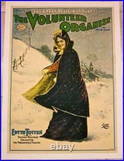 Reduced 175! Volunteer Organist Circa 1901 Lb Theatre Poster Rare Edyth Totten