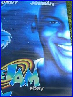 SPACE JAM 1996 Original 4X6' Vinyl Movie Theater Lobby Banner Bugs Michael MINT