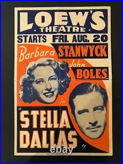 Stella Dallas Original Loew's Theater Poster on Heavy Stock (1937)-17 x 26 VG