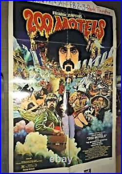 TWO HUNDRED 200 MOTELS 1971 ORIG MOVIE POSTER FRANK ZAPPA hung in movie theater