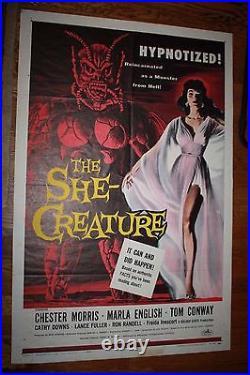 The She Creature Original Vintage Movie Poster 1956 Unrestored 1 sheet suspense