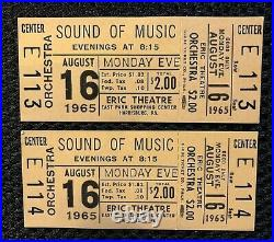 The Sound Of Music Rare Orig. 1965 Movie Theater Full Tickets (2) Julie Andrews