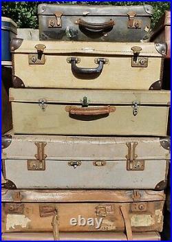 VINTAGE Suitcase Job Lot x25 Stage Film TV Theatre Shop Wedding Display Prop