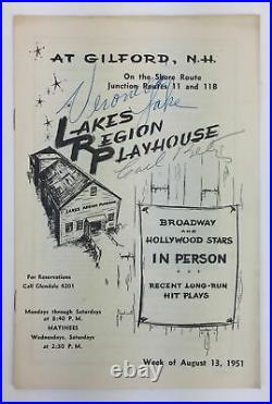 Veronica LAKE & Carl BETZ (Film/Stage) Signed Program from her First Stage Role
