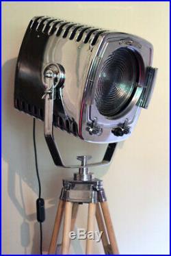 Vintage Chrome Strand 243 123 London Film Studio Spot Lamp Theatre Light Tripod