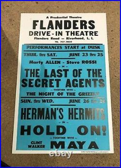 Vintage Flanders Drive-in Theatre NY Movie Poster Herman's Hermits in HOLD ON