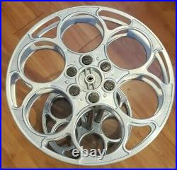 Vintage Goldberg Aluminum 35mm Movie Film Reel Side Table Home Theater Man Cave