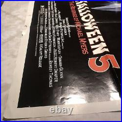 Vintage Halloween 5 Single Sided Original Poster From A Movie Theater 27x40