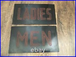Vintage Men & Ladies Lighted Bathroom Signs Retro Toilet Art Deco Movie Theater